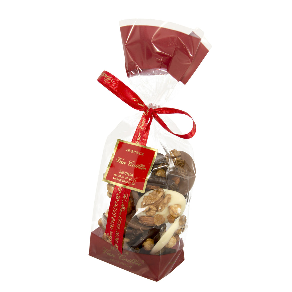 Selection of mendiants in bag - Belgian chocolate by Pralineur Van Coillie