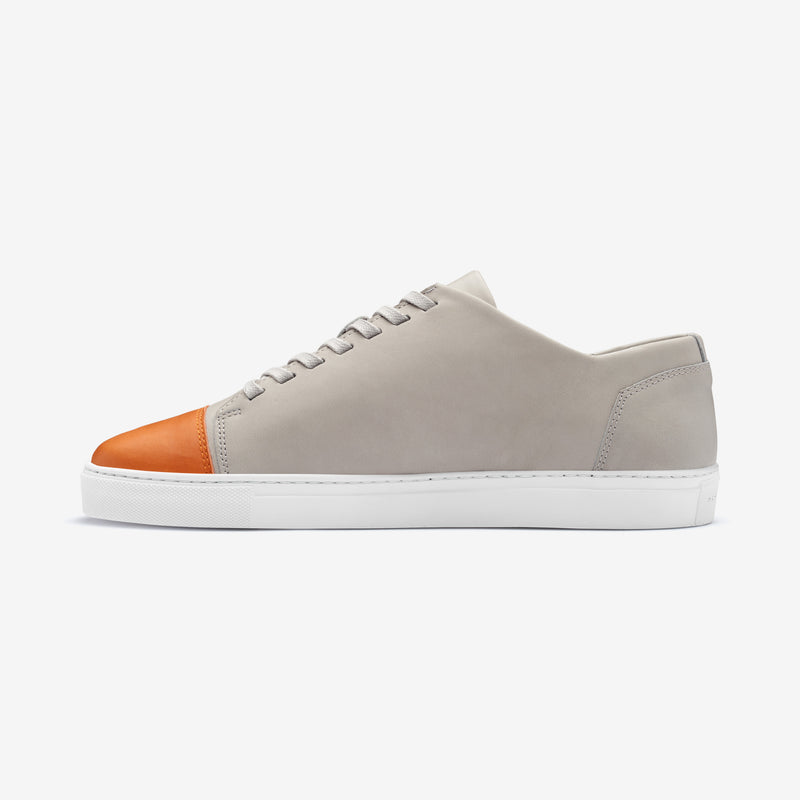 Impact - Men's Sneaker Light Gray Orange Leather