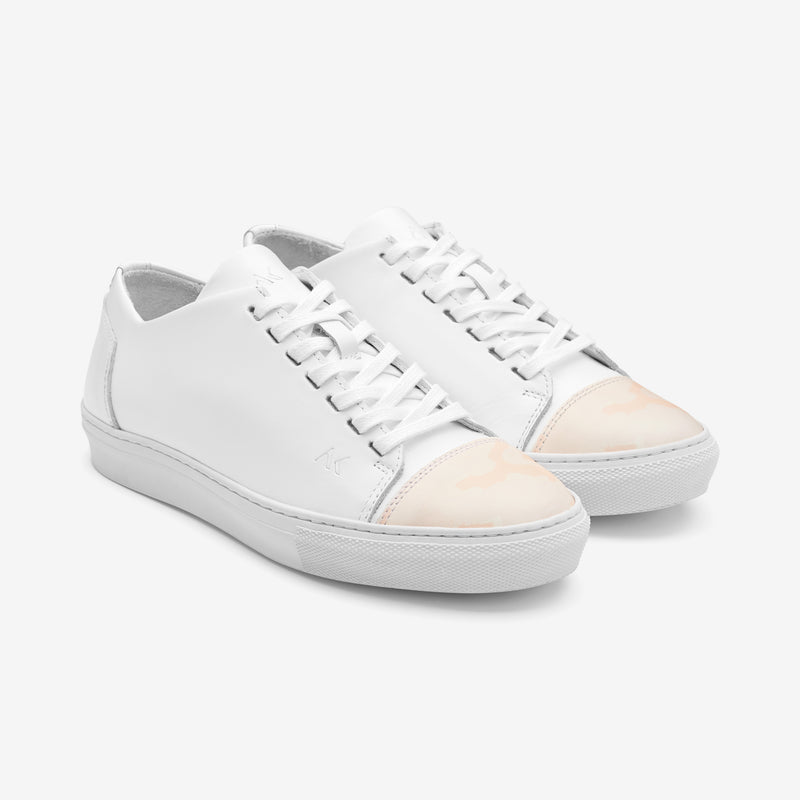 Impact - Women's Sneaker White Leather Peach Camo