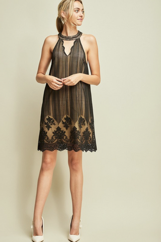 BLACK SHEER PLEATED & LACE DRESS
