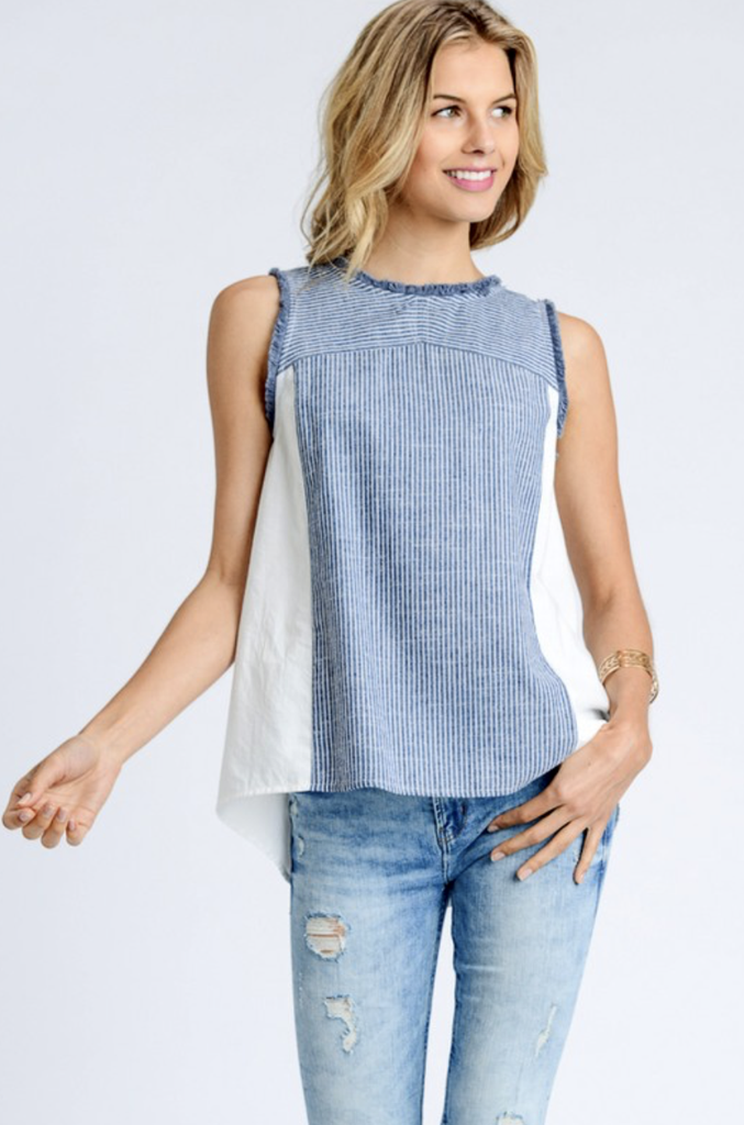 Chambray & Solid White Top