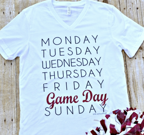 GAME DAY SATURDAY  VNECK  MAR GLITTER TEE