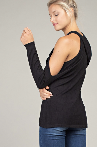 BLACK KEEP UP OPEN SHOULDER TOP