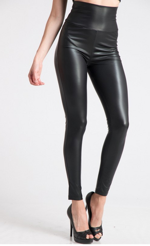 Turn Down High Waist Faux Leather Legging