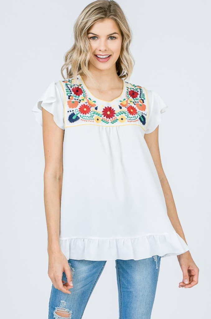 Embroidered Yoke Knit Top