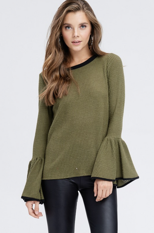 Trim Contrast Bell Sleeve Sweater - Final Sale