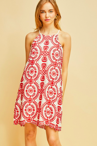 Red Embroidered SS Dress