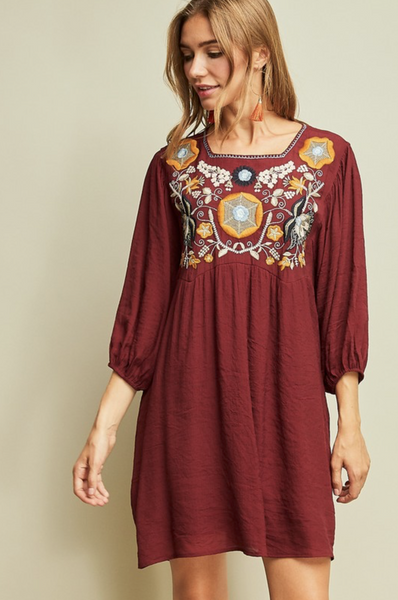 BURGUNDY EMBROIDERED BABYDOLL DRESS