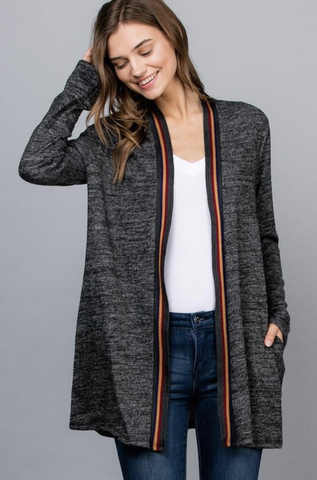 Solid Contrast Taping Cardigan - Final Sale