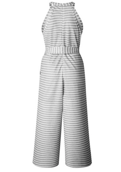 Grey Striped Halter Jumpsuit - Final Sale