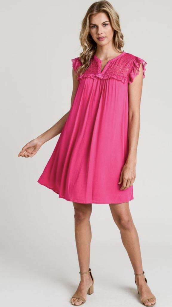 Fuchsia Dress Lace Inset - Final Sale