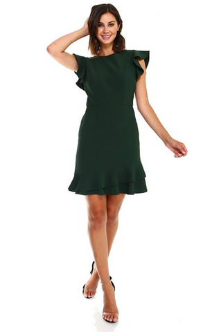 HUNTER GREEN VANESSA V-BACK RUFFLED DRESS