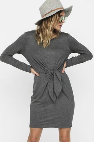 CHARCOAL KNIT DRESS WITH FRONT KNOT DETAIL - Final Sale
