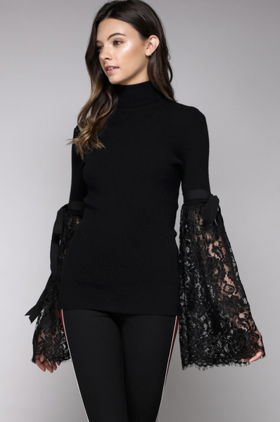 BLACK LACE BELL SLEEVE SWEATER