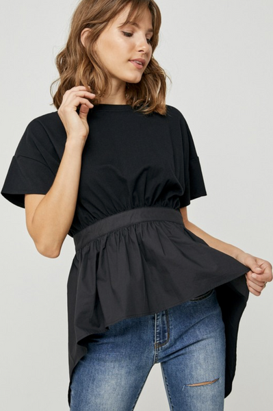 BLACK HI LO TIE BACK EMPIRE WAIST TEE