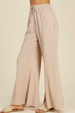 Taupe Linen Palazzo Pant