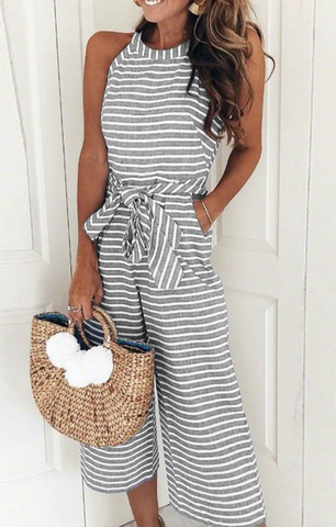 Grey Striped Halter Jumpsuit