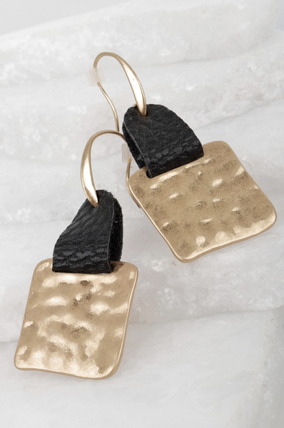Hammered Metal & Faux Leather Earrings