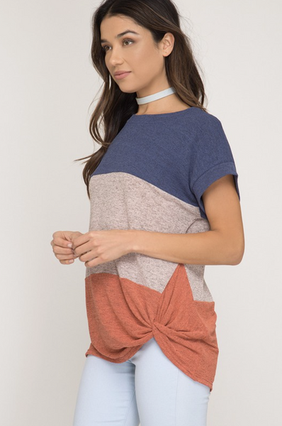 Dolman Sleeve Color Block Knit