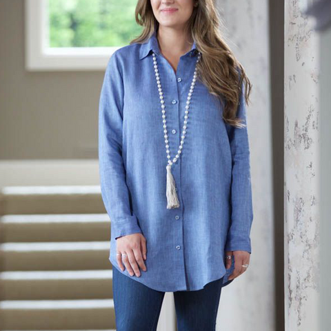 Christina Linen Button Down Long Sleeve Tunic