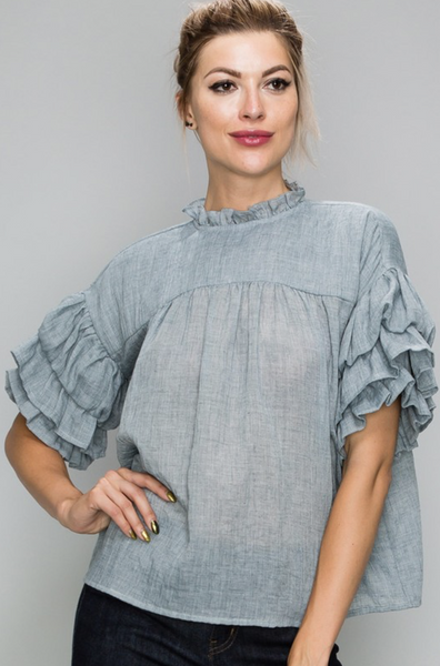 Tiered Ruffle Sleeve Peasant Top
