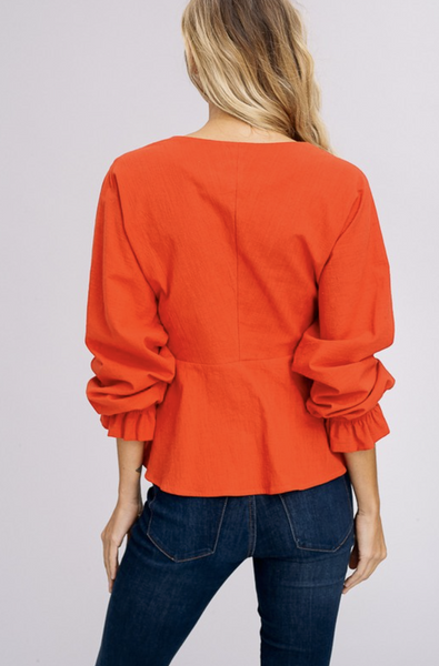 MAPLE RED FRONT TIE BLOUSE