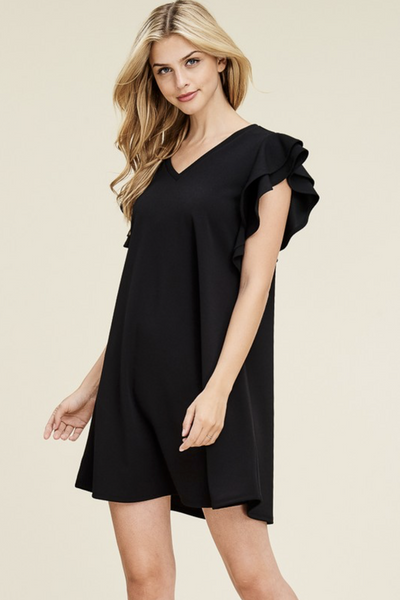 BLACK FLUTTER SLEEVE SHIFT DR