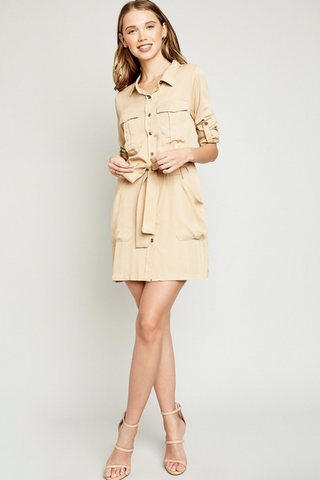 LS Shirt Dress w/Waist Tie