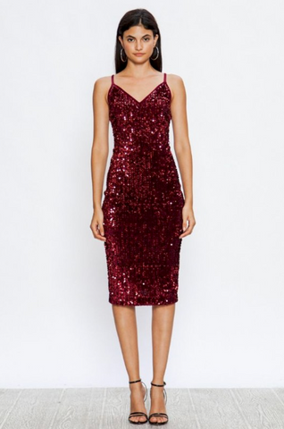 Adjustable Spaghetti Strap Sequin Bodycon Dress - Final Sale