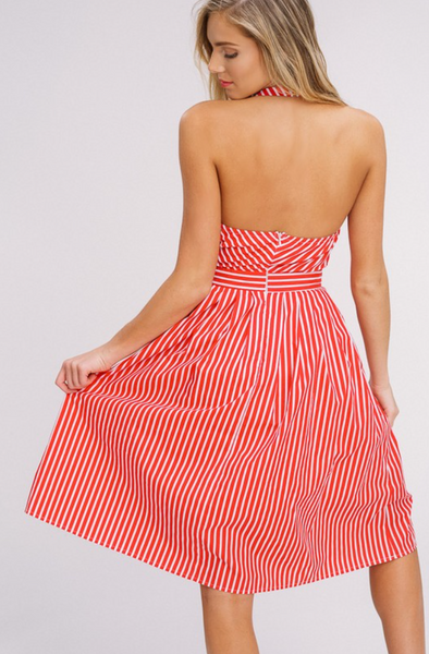 Tie Neck Halter & Stripe Dress