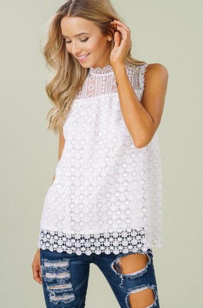 Floral Lace Slvless Blouse