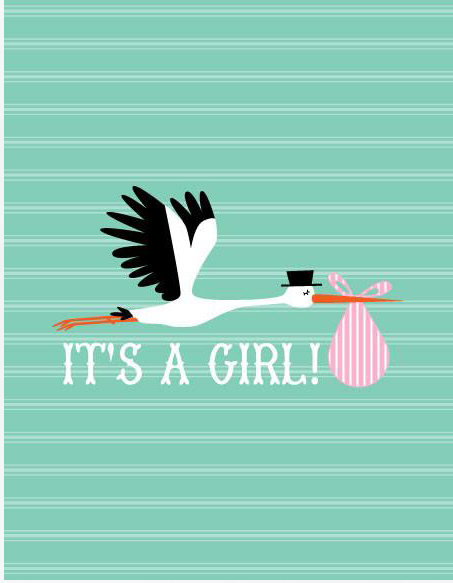 It's A Girl Note Card