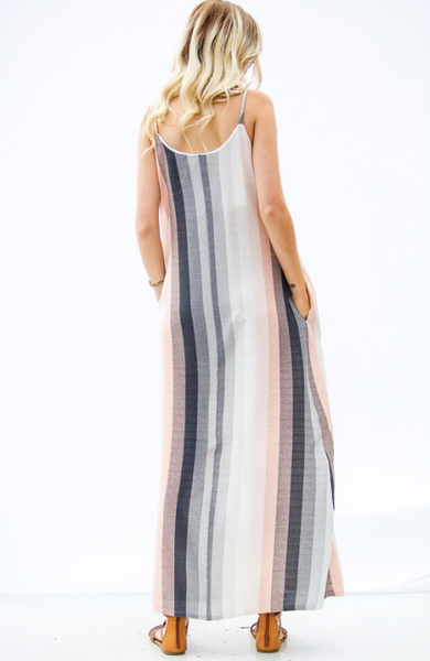 Grey Stripe Maxi Tank Dress