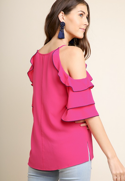 Rose Peep Bell Sleeve Top - Final Sale