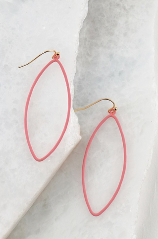 Pink Elongated Hoop Earring