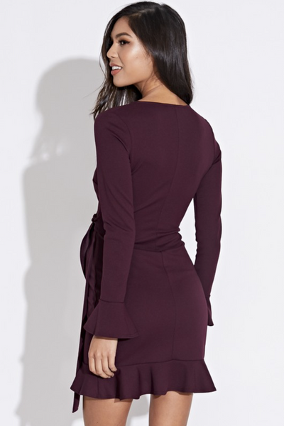 BURGUNDY  RUFFLE EDGE WRAP DRESS WITH GROMMET DETAIL