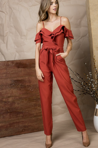 Take Me Out Ruffle Jumpsuit