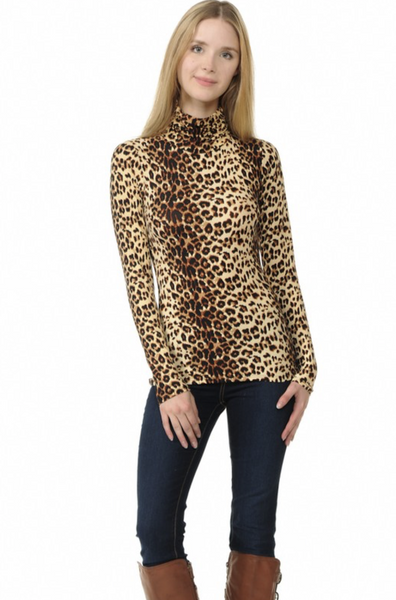 Animal Print Turtle Neck Long Sleeve Top