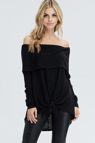 Solid Off the Shoulder Front Tie Sweater