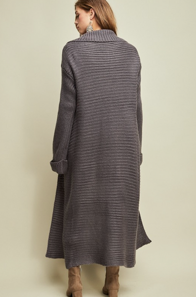 CHARCOAL SHAWL COLLAR MAXI CARDIGAN