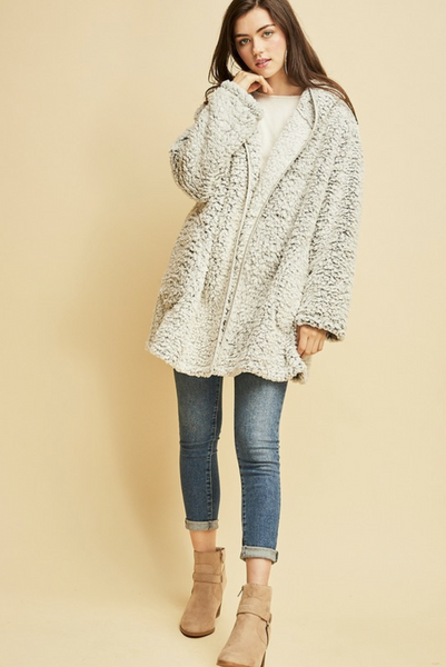 Sandy Faux Shearling Hooded Jacket