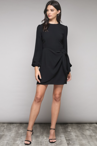 BLACK A LITTLE TIED UP LONG SLEEVE DRESS