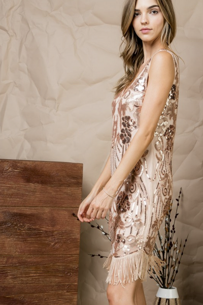 ROSE GOLD MOXIE FRINGE DRESS