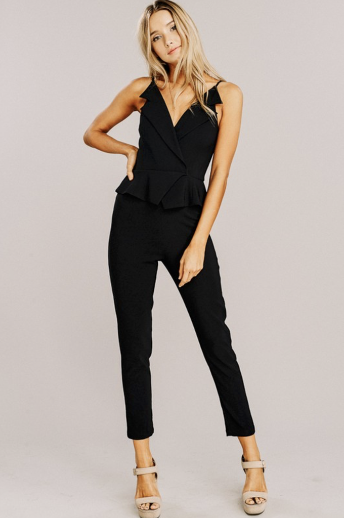 BLACK MISSY RUFFLE V NECK JUMPSUIT