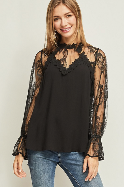 Lace Mock-Neck Top