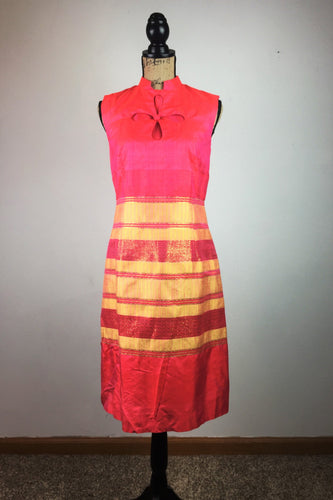 The 60's Coral & Gold Shimmer Dress
