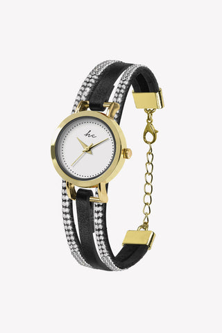 Forever Diamond Black Gold Watch