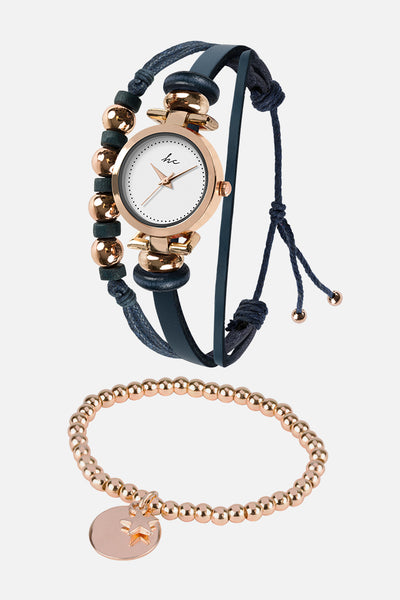 Painted Rosé - Rose Gold/Navy Watch & Bracelet Set