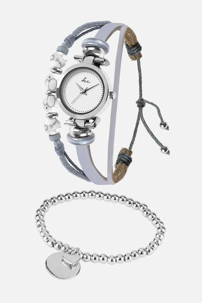 Painted Rosé - Silver/Grey Watch & Bracelet Set