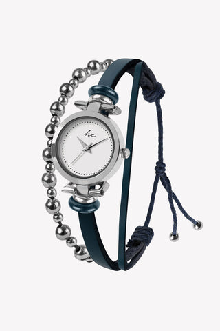 Painted Rosé Metal Teal Silver Watch